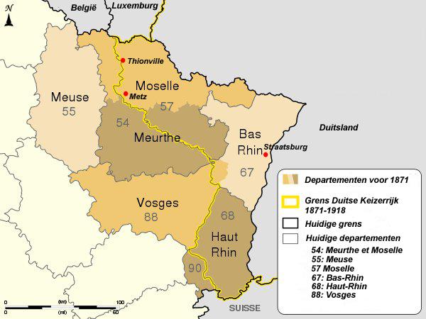 De landsgrenzen tussen Frankrijk en Duitsland van 1872-1919. Klik op de kleine afbeelding.